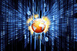 Binary matrix with glowing world globe