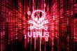 Binary matrix with glowing virus skull