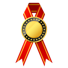 Gold badge with red ribbon. Vector. Detailed portrayal.