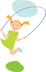 Girl jump with a skipping rope