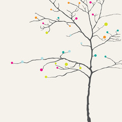 The image of a thin tree in the ink drawing style