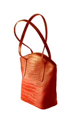 Red leather handbag isolated