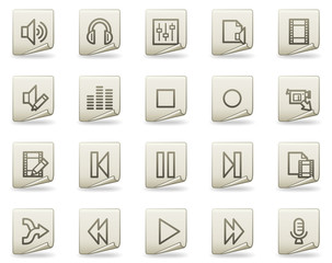 Audio video edit vector web icons, document series