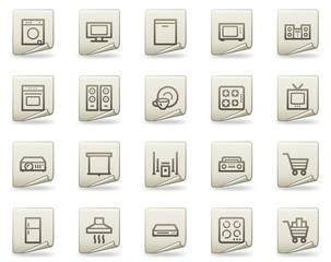 Home appliances web icons, document series