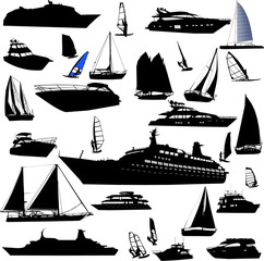 collection of sea tranportation vector