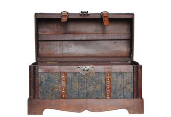 Wooden chest isolated on a white background.