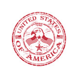 United States of America grunge rubber stamp poster