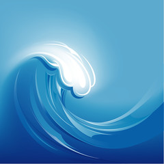 Big Blue Abstract Wave Background