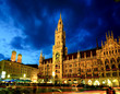 The night scene of Munich town hall