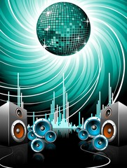 Illustration for a musical theme with speakers and disco ball.