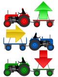 Set of tractors pulling hangers with trend arrows poster