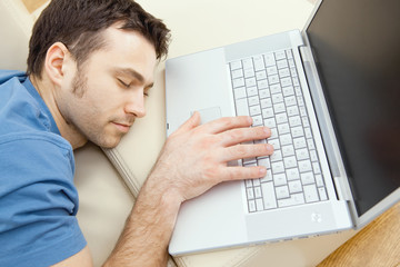Man overslept by laptop