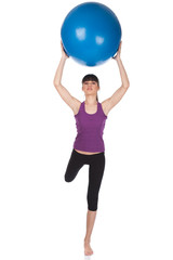 Woman doing exercise with pilates blue ball, isolate on white