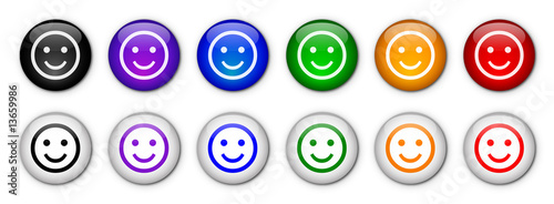 "Boutons ""Smiley"" (x12 - Multicolores)"