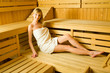 Blonde in sauna