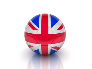 The ball, painted like English flag