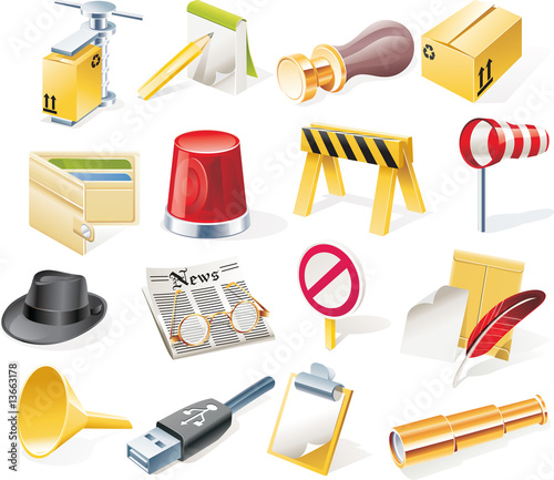 Vector objects icons set. Part 12