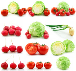 Collection of Ripe Vegetables Isolated on White