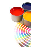 Fototapety Printing press inks, cyan, magenta, yellow with color swatches