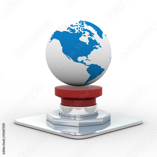 globe on the red button. Isolated 3D image