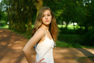 Cute young Teen Girl in a German park