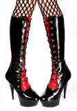Female legs in fetish boots poster