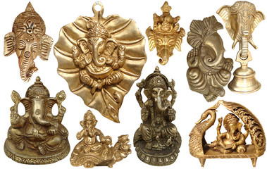 Indian Lord Ganesh - Hindu God Golden Sculpture & Statues