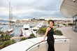 Beautiful model on the balcony of Palais des Festivals in Cannes