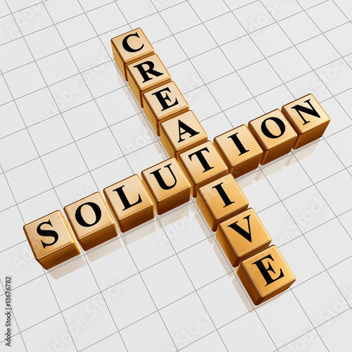 poster of golden creative solution like crossword
