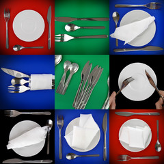 Collage of  forks, knifes, spoons  on different  background.