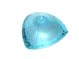 Sky blue topaz gemstone isolated on white background