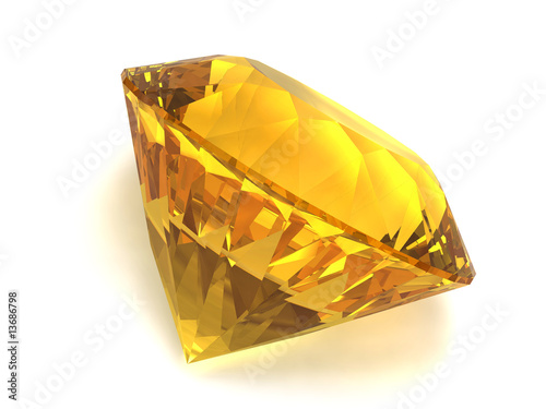 Citrine gemstone isolated on white background