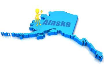 Alaska state outline with yellow stick figure