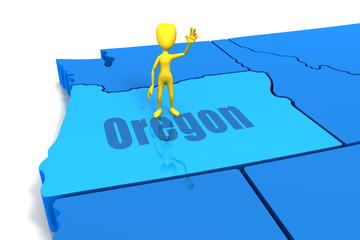 Oregon state outline with yellow stick figure