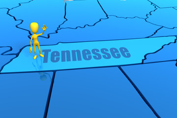 Tennessee state outline with yellow stick figure