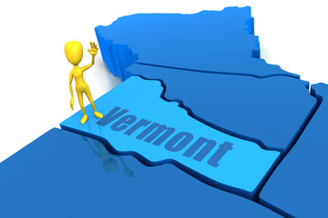 Vermont state outline with yellow stick figure