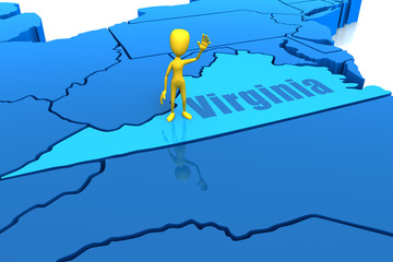 Virginia state outline with yellow stick figure