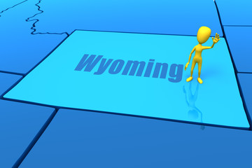 Wyoming state outline with yellow stick figure
