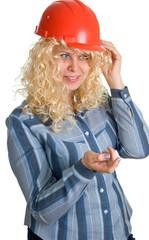 blonde women in a red building helmet