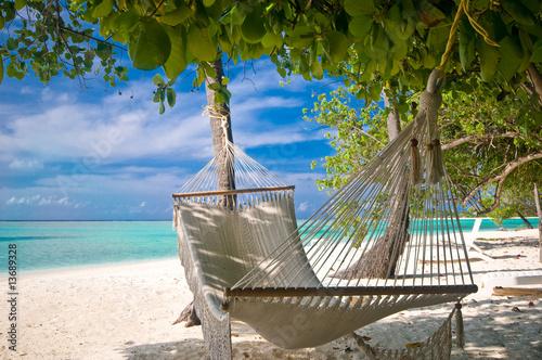 canvas print picture Hängematte unter Palmen am Strand