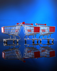 Miniature grocery shopping carts for business presentation