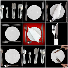 Collage of forks, knifes, spoons on black-red  backgrounds.