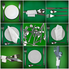 Collage of forks, knifes, spoons on green  background.