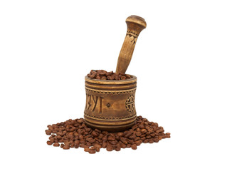 The old mortar , coffee beans on white background. Isolated