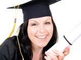 smiling brunet student girl in cap with graduate certificate ove poster