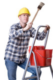Craftsman on a ladder with a brush poster