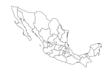 detailed vecotr map of mexico