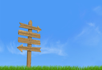 Old wooden empty sign post on sky background rendering