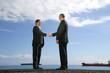 hommes d'affaires en costume se serrant la main