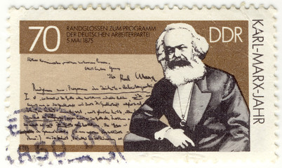 vintage stamp with German philosopher, creator of communism Karl